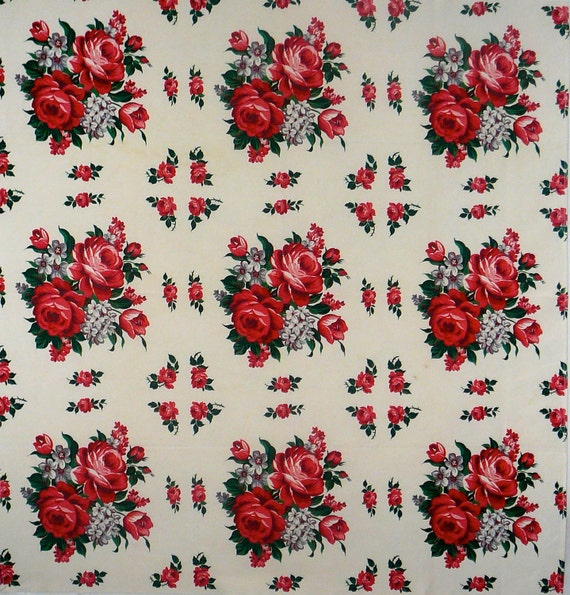 Vintage Tablecloth with Red and Green Roses - 1950's