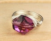 Wire Wrapped Ring- Sterling Silver Filled Wire with Amethyst Swarovski Crystal - Any Size- Size 4, 5, 6, 7, 8, 9, 10, 11, 12, 13, 14