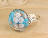 Sale! Wire Wrapped Ring- Sterling Silver Filled Wire with Sky Blue Lampwork Glass Bead - Size 4, 5, 6, 7, 8, 9, 10, 11, 12, 13, 14