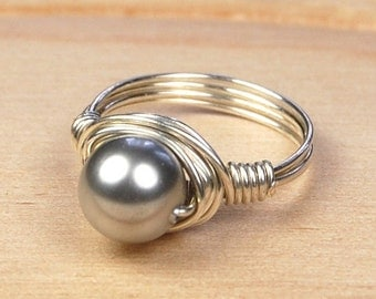 Sale! Wire Wrapped Ring- Sterling Silver Filled Wire with Light Grey Swarovski Pearl - Any Size- Size 4, 5, 6, 7, 8, 9, 10, 11, 12, 13, 14