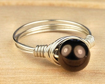 Sale! Sterling Silver Filled Ring - Wire Wrapped with Chocolate Swarovski Pearl - Any Size- Size 4, 5, 6, 7, 8, 9, 10, 11, 12, 13, 14