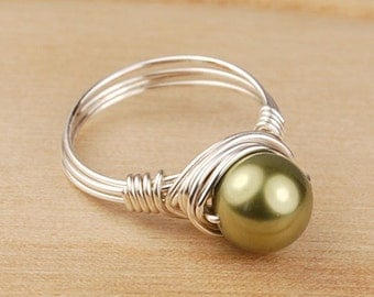 Sale! Pearl Ring - Wire Wrapped in Sterling Silver Filled Wire with Green Swarovski Pearl - Size 4, 5, 6, 7, 8, 9, 10, 11, 12, 13, 14