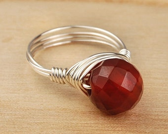 Carnelian Ring- Sterling Silver Filled Wire Wrapped Ring with Faceted Round Carnelian Gemstone - Size 4,5,6,7,8, 9, 10, 11, 12, 13, 14