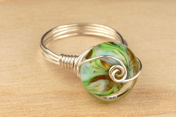 Sterling Silver Filled Wire Wrap Ring with Blue and Green Round Lampwork Glass Bead - Size 4, 5, 6, 7, 8, 9, 10, 11, 12, 13, 14