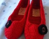 Red Mary Jane Slippers (without straps) - Reserved
