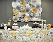 Romantic Yellow & Gray Vintage Wedding Ka-Lollie Paper Rosette Backdrop for Dessert Table / Shower/ Nursery (Featured on HWTM)