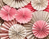 Romantic Pink & Brown Vintage Wedding Ka-Lollie Paper Rosette Backdrop for Dessert Table / Shower/ Nursery