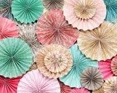 Pink, Light Teal/Turquoise, Beige and Brown Vintage Wedding Ka-Lollie Paper Rosette Backdrop / Shower/ Nursery