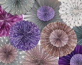 Purple, Plum & Silver (with White/Beige as accent) Ka-Lollie Paper Rosette Backdrop for Wedding /Shower/ Nursery/ Party