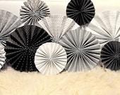 Modern Silver, Black and White Ka-Lollie Paper Rosette Backdrop for Wedding/Shower/Nursery (Featured on HWTM)