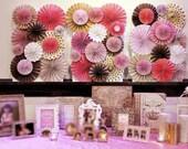 Pink & Gold Ka-Lollie Paper Rosette Backdrop for Wedding Dessert Table / Shower/ Nursery