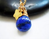 Lapis Lazuli Necklace. 14k Gold Filled Necklace. Star Charm Necklace. Sapphire Blue. Handmade.