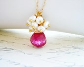 Pink Gemstone Necklace.  Raspberry Quartz and Pearl Necklace.  Gold Filled Necklace.