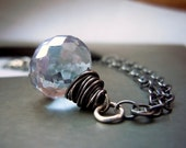 Blue Quartz Necklace, Mystic Quartz Necklace in Oxidized Sterling Silver.