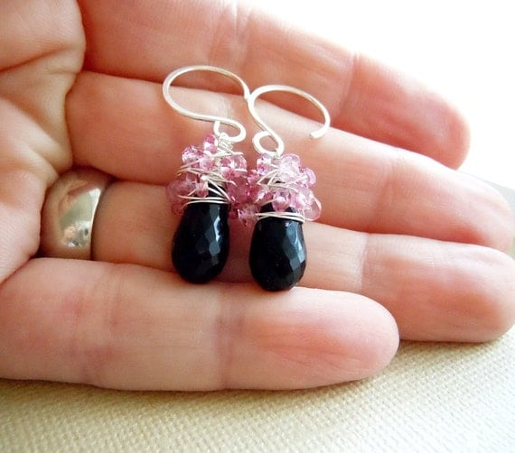 Pink and Black Gemstone Earrings.  Black Spinel and Pink Topaz Wire Wrapped Sterling Silver Earrings.