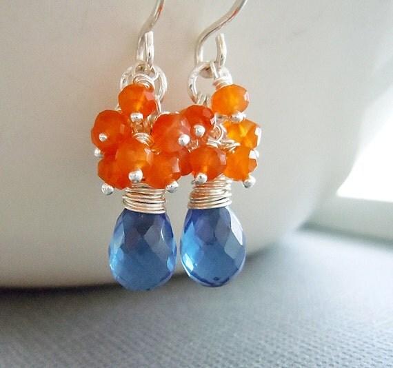 Orange Blue Gemstone Earrings.  Royal Blue Quartz with Carnelian Gemstone Cluster Sterling Silver Earrings.