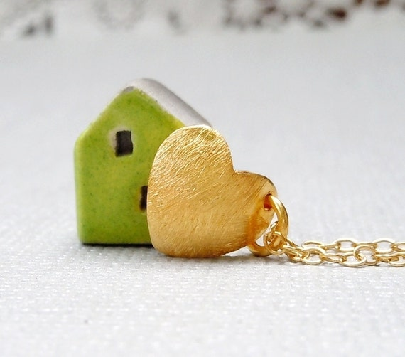 Gold Heart Charm Necklace Simple Gold Necklace Heart Necklace Jewelry Under 25