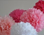 paper pom poms - IT'S A GIRL Baby Shower Collection -10 poms