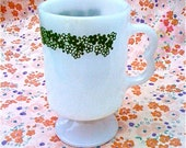 Vintage Pyrex Mug in White with Green Floral Pattern