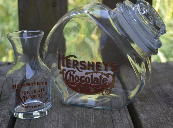 NEW LOW PRICE Vintage Hersheys Chocolate Cookie Jar and Milk Glass
