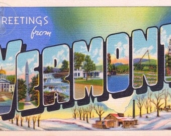 Greetings from Vermont Vintage Large Letter Postcard Giclee Print