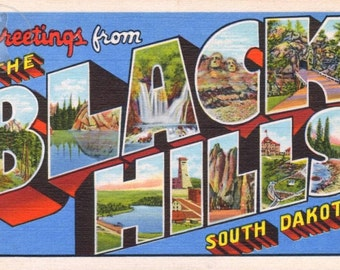 Greetings from Black Hills South Dakota Vintage Large Letter Postcard Giclee Print