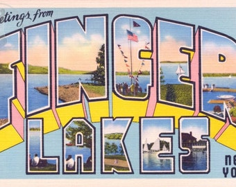 Greetings from The Finger Lakes, New York Vintage Large Letter Postcard Giclee Print