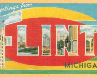Greetings from Flint, Michigan  Vintage Large Letter Postcard Giclee Print