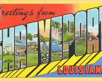 Greetings from Shreveport, LA Vintage Large Letter Postcard Giclee Print