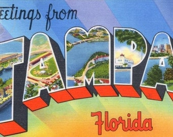 Greetings from Tampa, Florida Vintage Large Letter Postcard Giclee Print, Orange and Blue, Kitsch Summer Beach Art