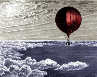 Red Balloon, Airship, Steampunk Flying Machine from 1890s Victorian Engraving : Print / Frame / Canvas