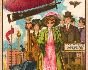 The Pink Airship, Reproduced from a Beautiful Early 20th Century Lithograph, Blimps Zeppelins Steam Punk
