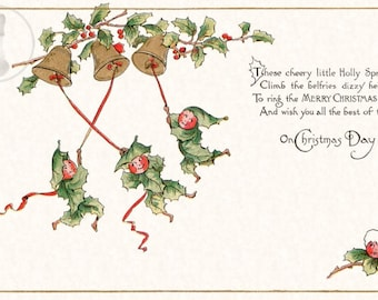 Vintage Christmas Decorating - This print comes from an antique postcard showing a Holly Sprites ringing Christmas Bells