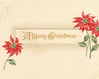 Vintage Christmas Decorating - This print comes from an antique postcard showing a Merry Christmas message and decorative poinsettias