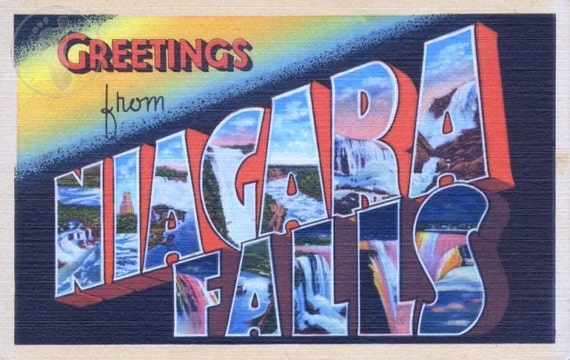 Greetings from Niagara Falls (New York & Ontario, Canada) Vintage Large Letter Postcard Giclee Print