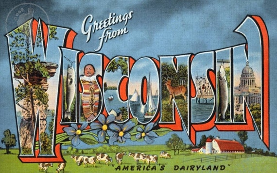 """Greetings from Wisconsin, """"America's Dairyland.""""  Vintage Large Letter Postcard Giclee Print"""