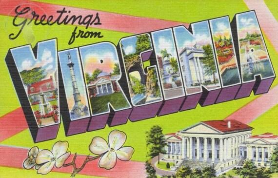 Greetings from Virgina Vintage Large Letter Souvenir Postcard Giclee Print