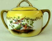 Yellow and gold Royal Rudolstadt lidded sugar bowl with bird motifs