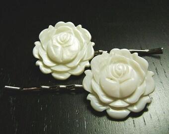 SALE !!! Ruffled Rose Hair Pins Duo