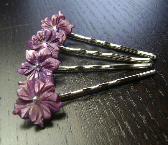 CLEARANCE !!! Purple Passion Flowers Mother of Pearl Bobby Pins -- set of 4 for Bridesmaids