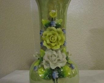 Green Lusterware vase