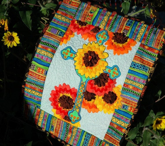 Joyous Rainbow Glory Cross Art Quilt Wall Hanging Rick Rack Ric Rac Flowers Embellished Sunflowers African Continent On Back