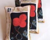 Red & black lavender bag with Shanghai postage stamp deco flower design