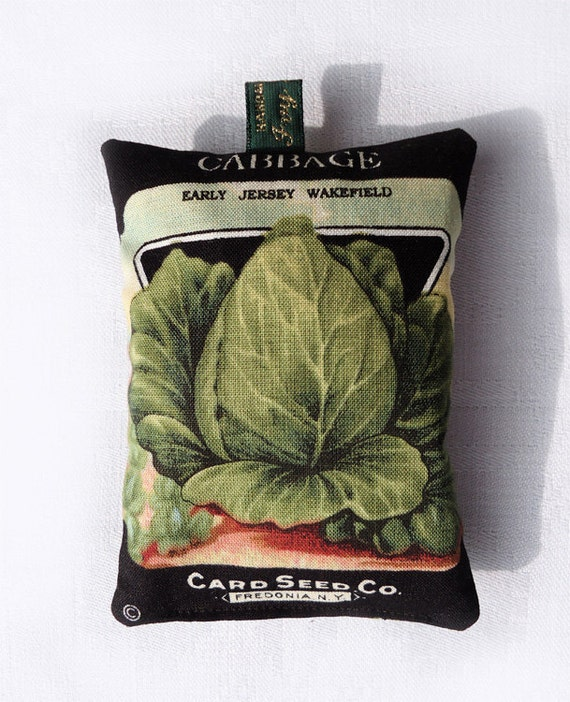 Lavender bag with 1920s seed packet design: Cabbage (Early Jersey Wakefield)