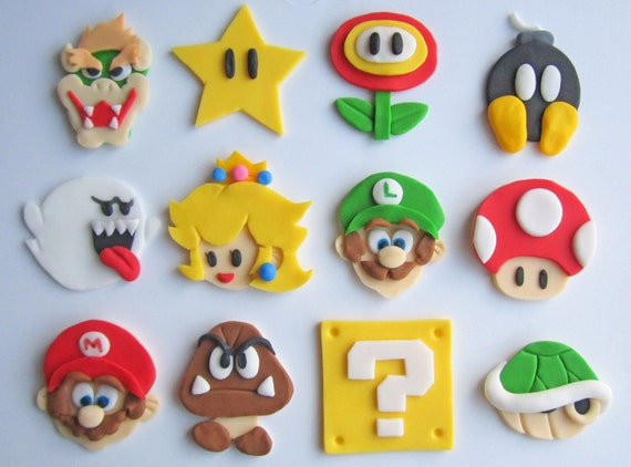 Super Mario Cupcake/Cookie Topper Assortment - 1 Dozen