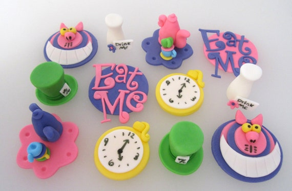 Wonderland  Cupcake or Cookie Toppers - 1 dozen