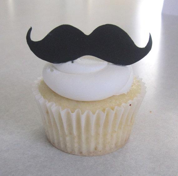Mustache Cupcake/Cookie Topper Assortment - 1 Dozen REGULAR Size