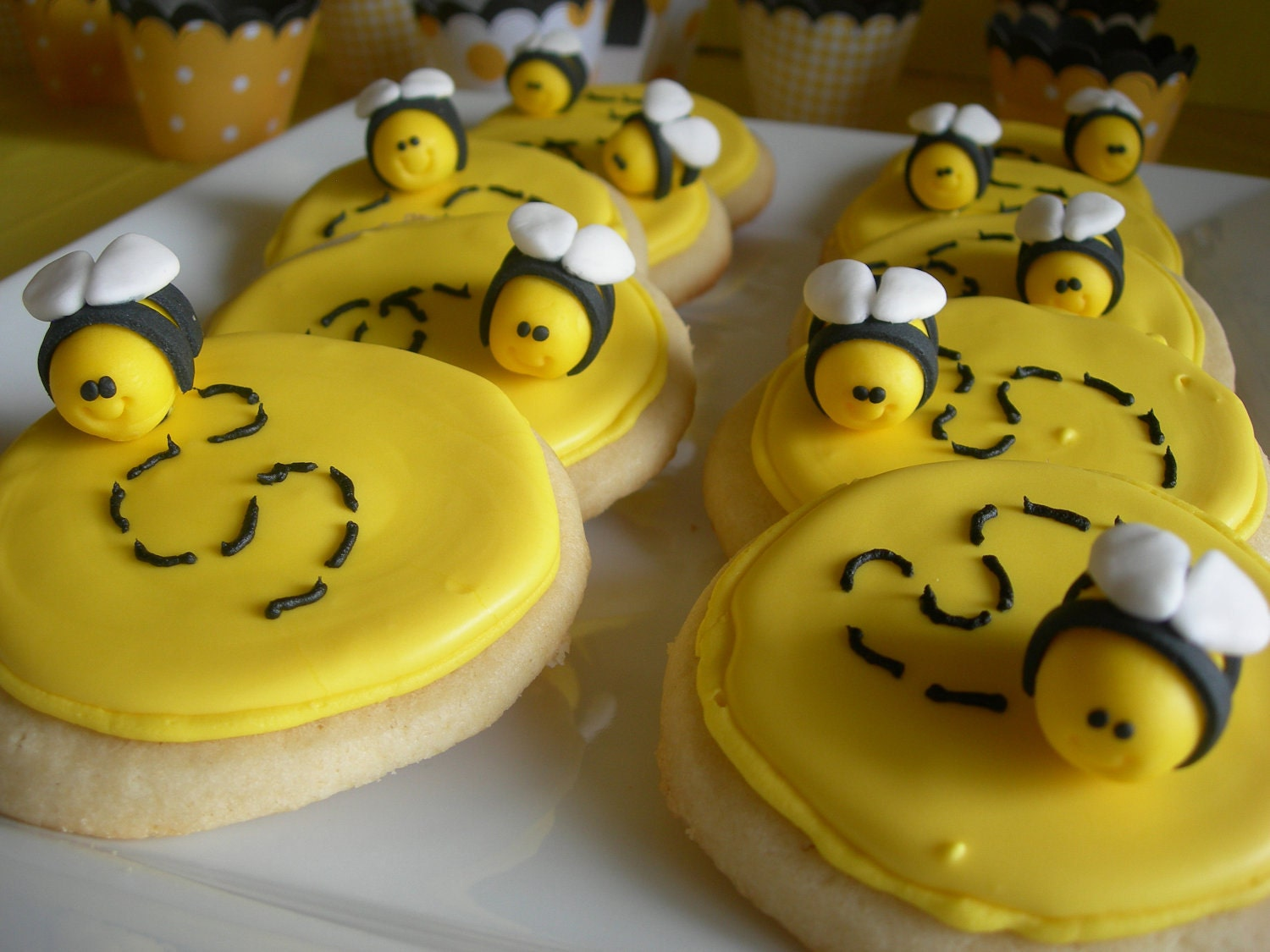 Mini Bumble Bee Cupcake Cookie Toppers 1 Dozen By