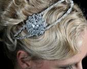 Vintage inspired Swarvoski crystal and brooch double band hairband/piece/tiara