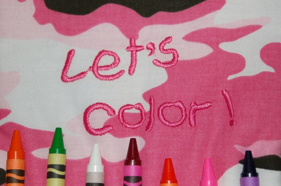 Pink Camouflage Crayon Tote With Activity Book & Crayons